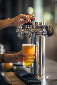 pouring craft beer at a bar