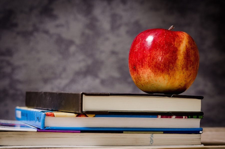 Charlotte-Mecklenburg Schools apple and books.
